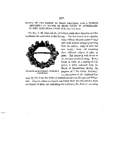 Notice of two Bronze or Brass Brooches, also a Pointed Implement of Bronze or Brass, found in Sutherland., Volume 16, 492-4