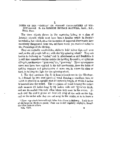 Notes on the 'Carles' or Wooden Candlesticks of Wigtownshire., Volume 22, 113-8