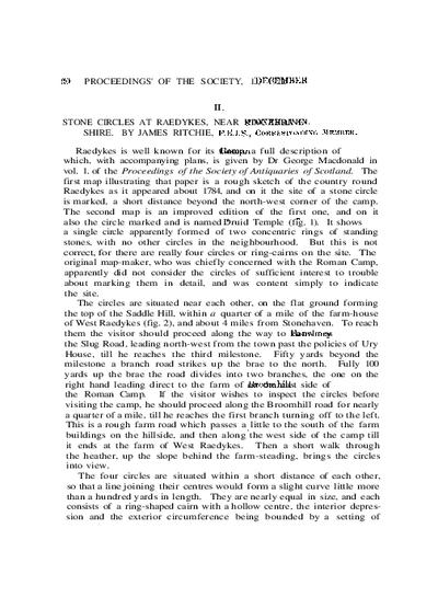 Stone Circles at Raedykes, near Stonehaven, Kincardineshire., Volume 57, 20-Aug