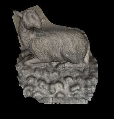 3d model of a sculpture of right sheep in the Reims cathedral