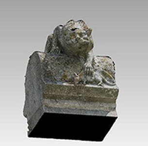 3d models of the sculpture of a cat playing with mice