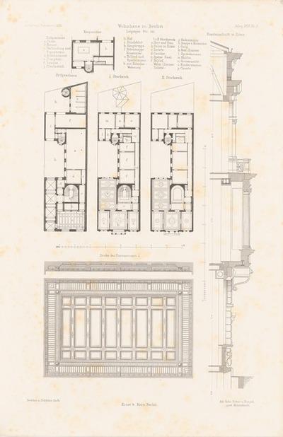 Wohnhaus Leipziger Straße, Berlin. (Aus: Atlas zur Zeitschrift für Bauwesen, hrsg. v. F. Endell, Jg. 26, 1876.)