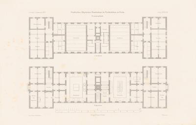 Städtisches Allgemeines Krankenhaus, Berlin-Friedrichshain. (Aus: Atlas zur Zeitschrift für Bauwesen, hrsg. v. F. Endell, Jg. 26, 1876.)