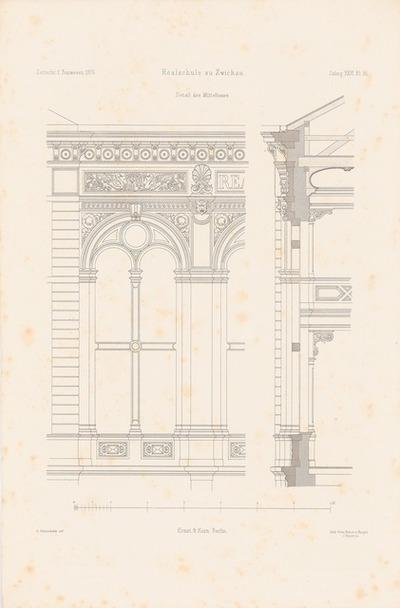 Realschule, Zwickau. (Aus: Atlas zur Zeitschrift für Bauwesen, hrsg. v. F. Endell, Jg. 26, 1876.)