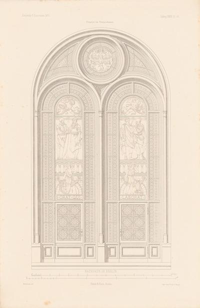 Berliner Rathaus (Rotes Rathaus). (Aus: Atlas zur Zeitschrift für Bauwesen, hrsg. v. F. Endell, Jg. 26, 1876.)