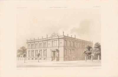 Kunstvereinshaus, Kassel. (Aus: Atlas zur Zeitschrift für Bauwesen, hrsg. v. F. Endell, Jg. 26, 1876.)