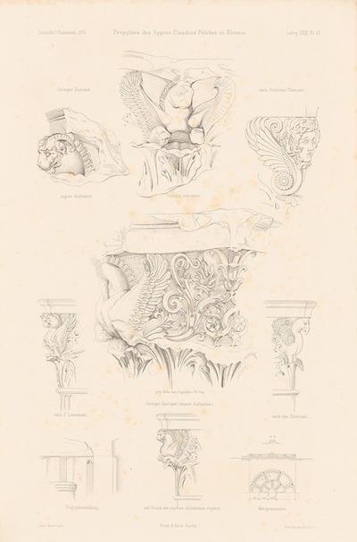 Propyläen des Appius Claudius Pulcher, Eleusis. (Aus: Atlas zur Zeitschrift für Bauwesen, hrsg. v. F. Endell, Jg. 26, 1876.)