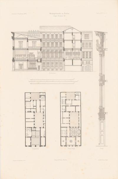 Wohngebäude Jägerstraße, Berlin. (Aus: Atlas zur Zeitschrift für Bauwesen, hrsg. v. F. Endell, Jg. 26, 1876.)