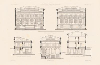 Empfangsgebäude der Berlin-Potsdam-Magdeburger Eisenbahn, Berlin. (Aus: Atlas zur Zeitschrift für Bauwesen, hrsg. v. F. Endell, Jg. 27, 1877.)