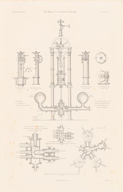 Schleuse im Des Moines-Kanal, Keokuk. (Aus: Atlas zur Zeitschrift für Bauwesen, hrsg. v. F. Endell, Jg. 27, 1877.)