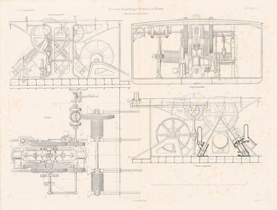 Eiserner Dampfbagger Herkules, Husum. (Aus: Atlas zur Zeitschrift für Bauwesen, hrsg. v. F. Endell, Jg. 27, 1877.)