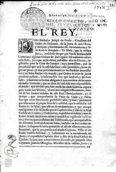 Cédula real de Fernando VI por la que se prohíbe la caza con hurones y se ordena a la villa de Arganda que ocho de sus vecinos se dediquen a la conservación de los mismos y a la limpieza de perdices y liebres