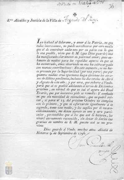 Orden de Juan González del campo a la villa de Arganda para que se hagan efectivos los atrasos de débitos pendientes y adelantar el tercio de diciembre