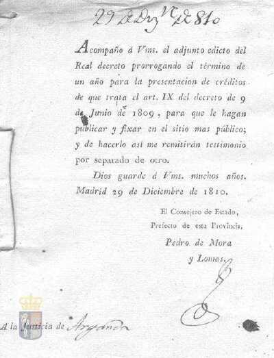 Orden de Pedro de Mora y Lomas, prefecto de la provincia de Madrid, en la que se prorroga la presentación de créditos a que se refiere el artículo 9 del decreto de 09-06-1809