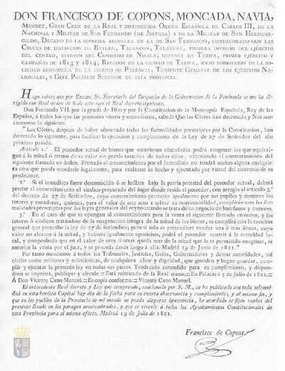 Bando de Francisco de Copons que comunica la real orden de Fernando VII para que el poseedor de bienes vinculados pueda enajenar la mitad sin previa tasación