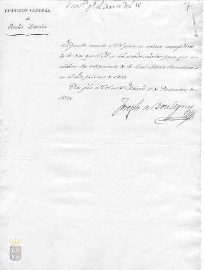 Comunicación de la remisión de las fechas de los sorteos de la real lotería primitiva para el año 1825