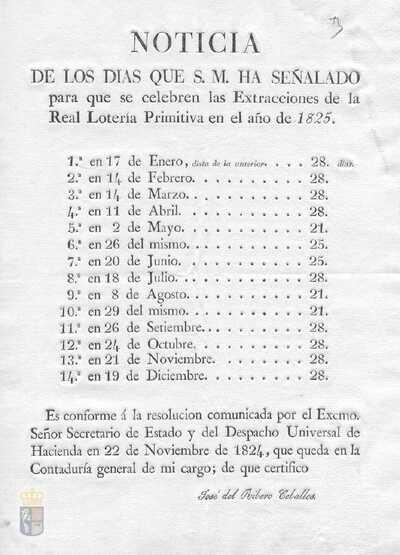 Comunicación de José del Ribero Ceballos de los días del año 1825 en los que se celebrarán sorteos de la real lotería primitiva