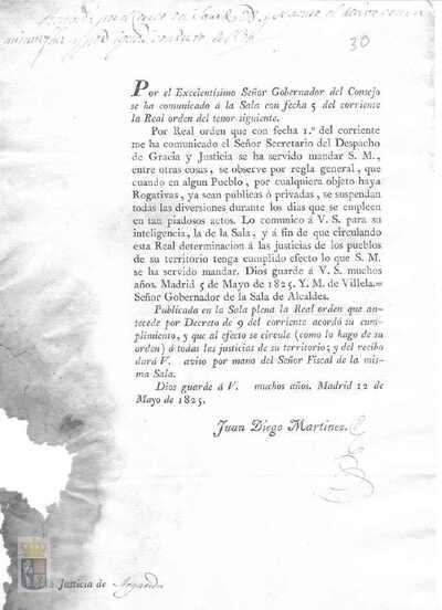 Comunicación de Juan Diego Martínez a la villa de la real orden de Fernando VII para que se supriman las diversiones durante las rogativas