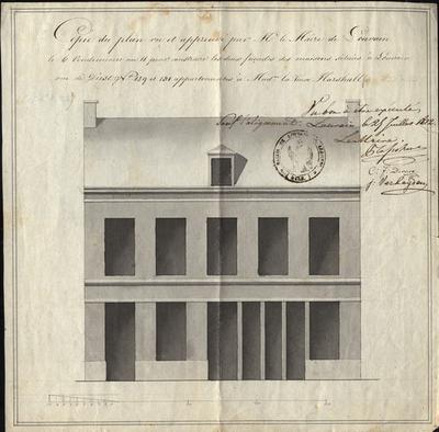 Copie du plan vu et approuvé par Mr, le Maire de Louvain le 6 vendemaire an 11 pour construire les deux façades des maisons situées à Louvain rue de Diest N°129 et 131 appartenant à Mad, la veuve Marshall