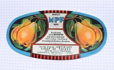 Groot ovaal etiket van Meekers om op strooppotten met perenstroop te plakken