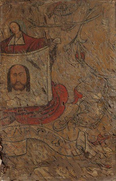 De heilige Veronica met de zweetdoek van Christus (fragment van een muurschildering)