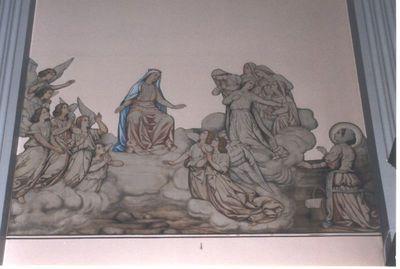 muurschilderij, - Maria omringd door engelen en Ursulinen