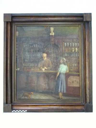 schilderij van apotheek Van Venckenray met apotheker Van Venckenray G. en een zijn schoonzus maria Mariqué (?) in de apotheek, voor de vergiftenkast