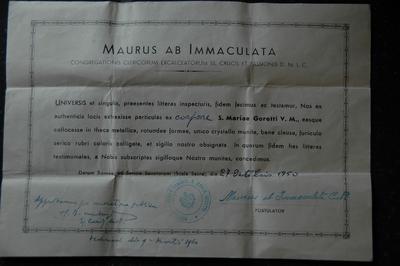 reliekcertificaat voor reliek van de heilige Maria Goretti V.M.