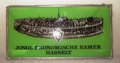 Anoniem, glasraam Jonge Ekonomische Kamer Hasselt, relatiegeschenk, s.d., glas.