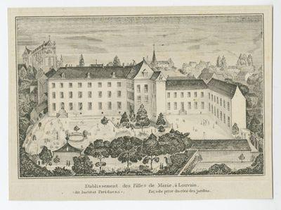 Etablissement des Filles de Marie, à Louvain (dit Institut Paridaens). Façade prise du côté des jardins.