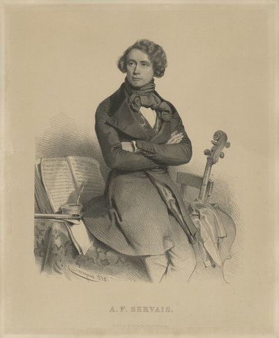 François Servais (1807-1866), litho door Charles Baugniet (Brussel, 1838)