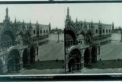 Ferrier p.f. & Soulier, J. Lévy Sr., stereokaart met zicht op de Basiliek van San Marco en op de achtergrond het Dogenpaleis, s.d., glas.