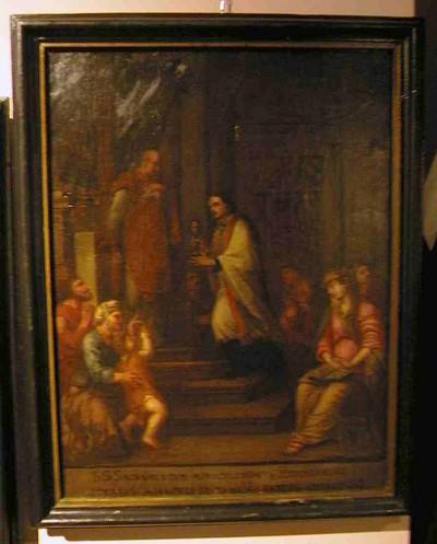 Anoniem, Bij het binnentreden van de abdijkerk te Herkenrode keert de celebrant zich om om het Heilig Sacrament te aanbidden, schilderij uit een cyclus van zes, 18de eeuw, olie op doek.