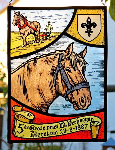 Glasraam voor de trekpaardenprijskamp 'Berreke' Verhaeghen, 1987