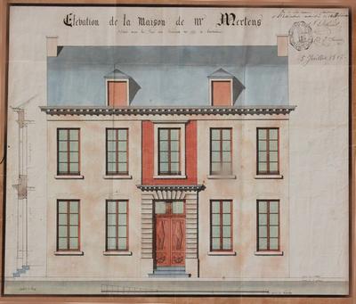 Elevation de la maison de Mr, Mertens située dans la Rue des Ecrenier n°373 à Louvain