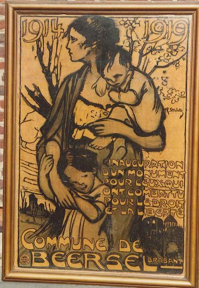 Affiche van de inhuldiging van het oorlogsmonument van Beersel