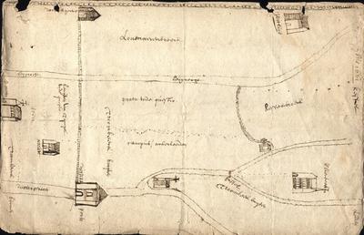 Plattegrond van een gedeelte van de stad met betrekking tot een proces