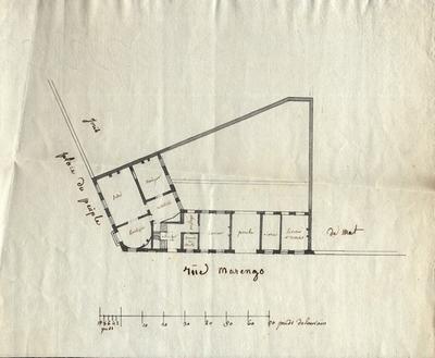 Plattegrond van een huis op de hoek van het Ladeuzeplein en de Vital Decostestraat