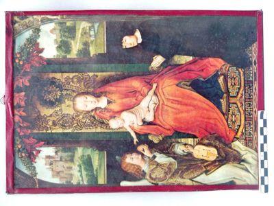 afbeelding van Maria met kind achter glas