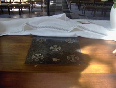 altaarsteen tafelaltaar met zegel