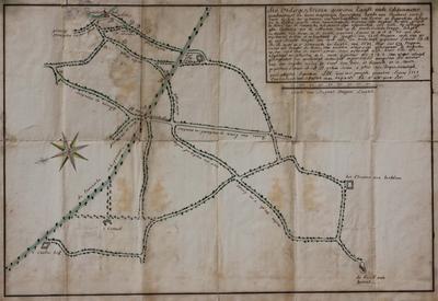 Landmeterkaart betreffende de optekening van wegen en de Vaart, opgesteld naar aanleiding van een proces tussen François Muls tegen Philippe de Bruyn]