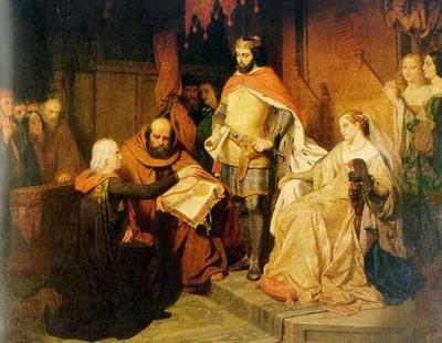 Godfried Egide Guffens (1823-1901), De overhandiging van het vrijheidscharter aan de stad in 1232 door Arnold IV, graaf van Loon', 1846, olie op doek.