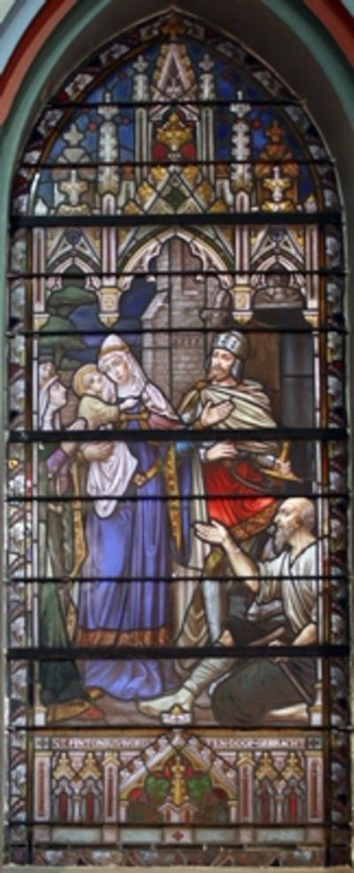 Vier glasramen met taferelen uit het leven van Antonius van Padua