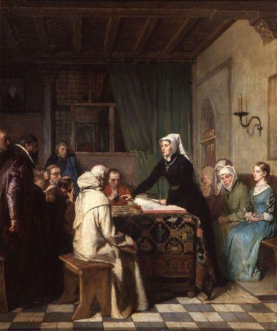 Voorstudie voor het werk 'Antonia van Roesmale becommentarieert de bijbel'