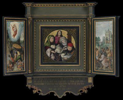 Triptiek met de bewening van Christus en schenkersportretten van Pieter Caverson en Catharina van Meerbeke
