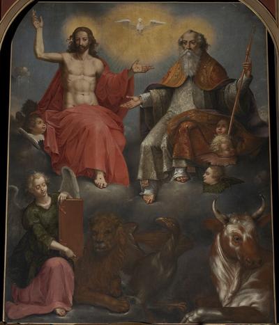 H. Drievuldigheid omringd door 4 evangelisten