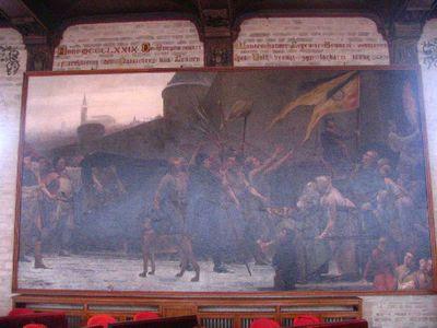 Het volk brengt het stoffelijk overschot van burgemeester Wouter van der Leyen terug naar Leuven, 1379