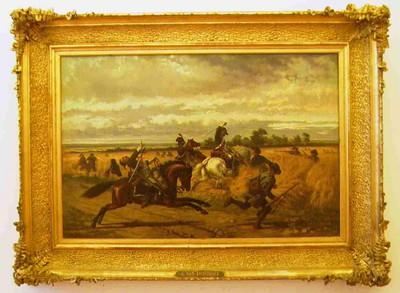 Jules Van Imschoot (1821-1884), Boerenkrijg, 1864, olie op hardboard.