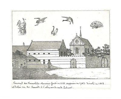 Couvent des Carmelites chaussées fondé en 1666, supprimé en 1783. Démoli en 1803. Etait situé rue des Flamands à l'entrée vers la rue de Tirlemont.