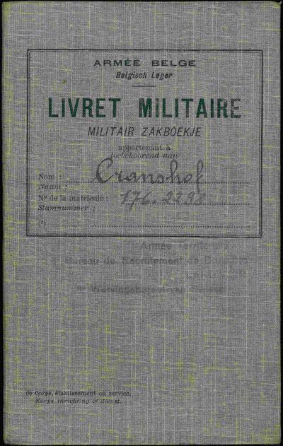Militair zakboekje van soldaat-milicien Pierre Joseph Cranshof